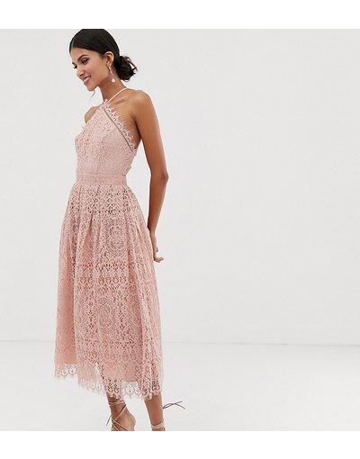 Rosa donna Vestito midi in pizzo con corpino stile grembiule - ASOS DESIGN Tall - Rosa
