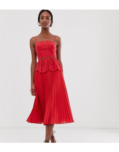 Rosso donna Vestito midi in pizzo con spalline e gonna a pieghe - ASOS DESIGN Tall - Rosso
