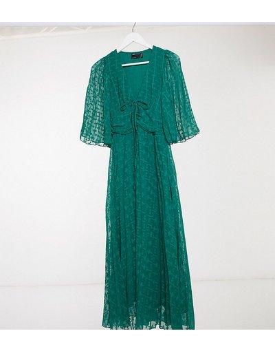 Verde donna Vestito midi in plumetis con laccetti e maniche svasate verde bosco - ASOS DESIGN Tall