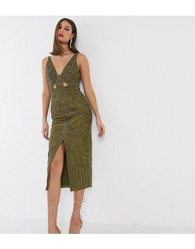 Verde donna Vestito midi in velluto con cut - ASOS DESIGN Tall - out e borchie - Verde