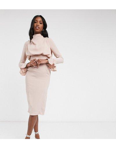 Rosa donna Vestito midi rosa con collo ad anello e maniche svasate - ASOS DESIGN Tall