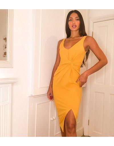 Giallo donna Vestito midi senza maniche con nodo in tessuto scuba crêpe giallo - ASOS DESIGN Tall