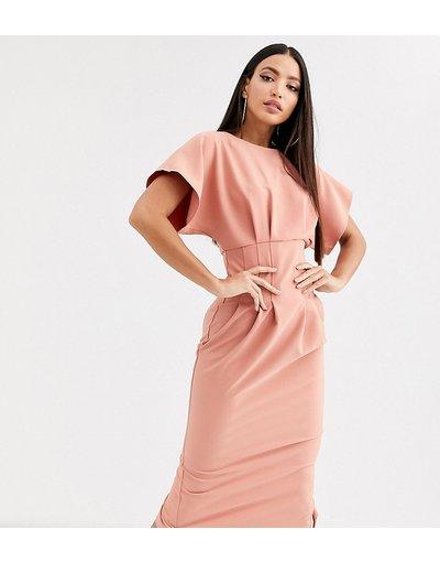 Rosa donna Vestito midi stretto in vita - ASOS DESIGN Tall - Rosa