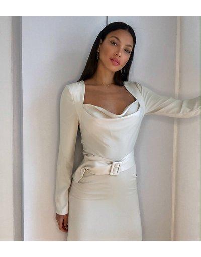 Crema donna Vestito skater corto con scollo ad anello e cintura con fibbia grigio pietra - ASOS DESIGN Tall - Crema