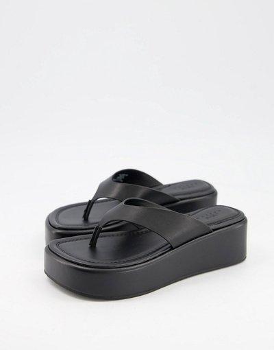 Sandali Nero donna Scarpe flatform infradito in pelle premium, colore nero - ASOS DESIGN - Target