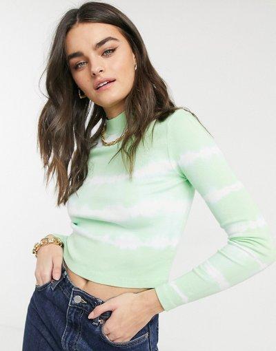T-shirt Verde donna Top a coste attillato a righe color menta slavato tie - ASOS DESIGN - Verde - dye