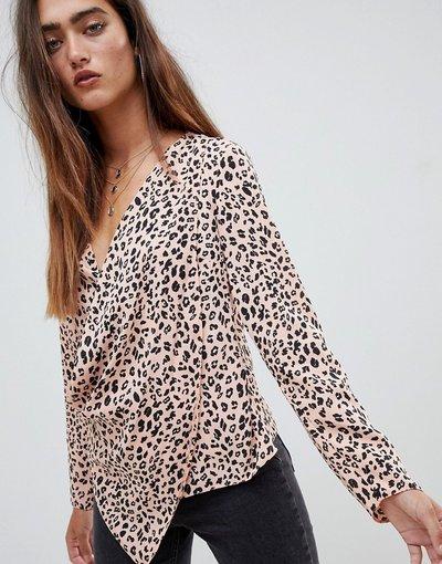 Camicia Multicolore donna Top a maniche lunghe a portafoglio con scollo profondo leopardato - ASOS DESIGN - Multicolore