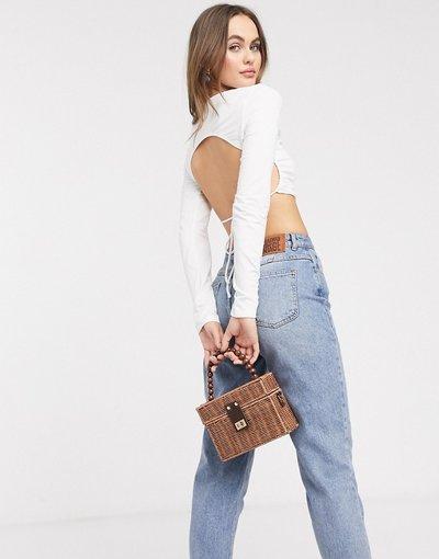 T-shirt Bianco donna Top a maniche lunghe allacciato con schiena scoperta - ASOS DESIGN - Bianco