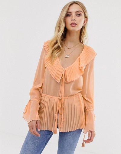 Camicia Nero donna Top a maniche lunghe con dettagli plissettati, apertura sul davanti e laccetti - ASOS DESIGN - Nero