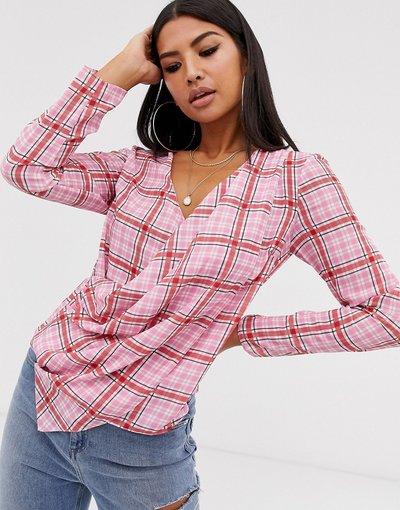 Camicia Multicolore donna Top a maniche lunghe con stampa a quadri e profondo scollo a portafoglio - ASOS DESIGN - Multicolore