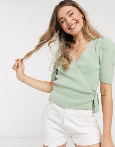 Verde donna Top a portafoglio verde con maniche a sbuffo - ASOS DESIGN