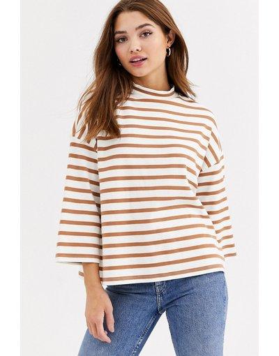 T-shirt Multicolore donna Top accollato strutturato a righe - ASOS DESIGN - Multicolore