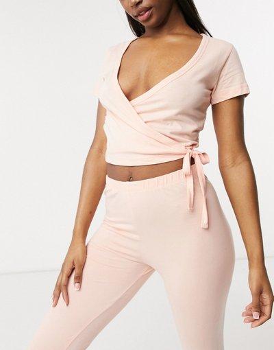 Pigiami Rosa donna Top del pigiama a portafoglio Mix&Match in jersey, color pesca - ASOS DESIGN - Rosa