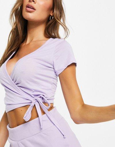 Pigiami Viola donna Top del pigiama a portafoglio mix&match in jersey lilla - ASOS DESIGN - Viola