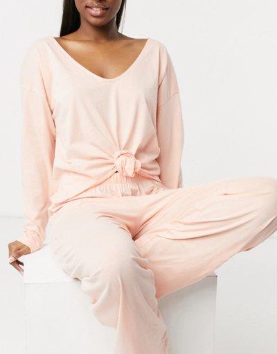 Pigiami Rosa donna Top del pigiama Mix&Match a maniche lunghe con nodo frontale color pesca - ASOS DESIGN - Rosa