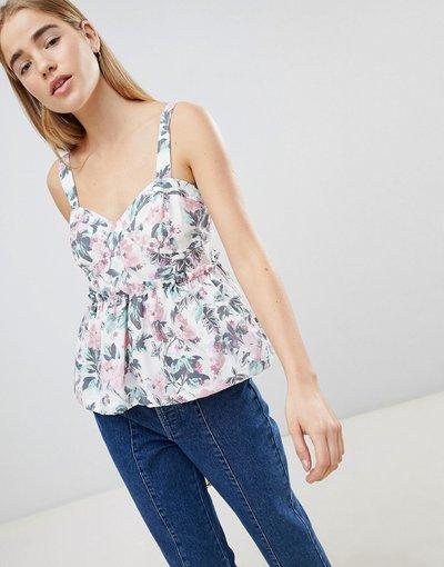 T-shirt Multicolore donna Top grembiule in cotone con stampa floreale vintage - ASOS DESIGN - Multicolore