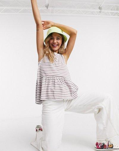 T-shirt Multicolore donna Top grembiule senza maniche a righe effetto slavato - ASOS DESIGN - Multicolore