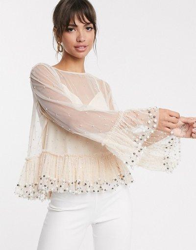Camicia Rosa donna Top grembiule trasparente con perline - ASOS DESIGN - Rosa