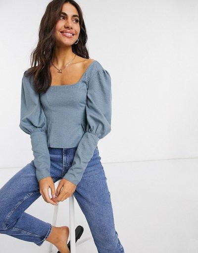 Camicia Nessun colore donna Top in seersucker con maniche voluminose blu - Nessun colore - ASOS DESIGN
