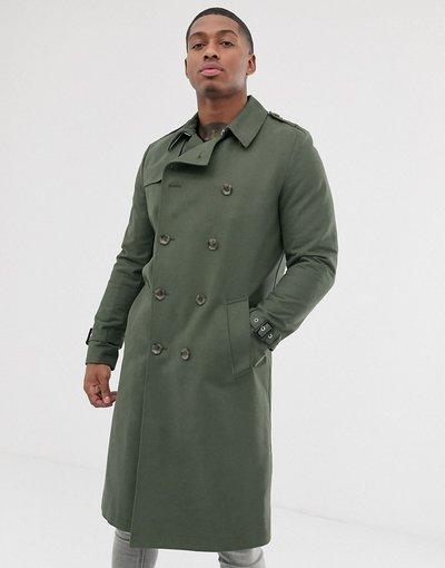 Verde uomo Trench lungo impermeabile kaki con cintura - ASOS DESIGN - Verde