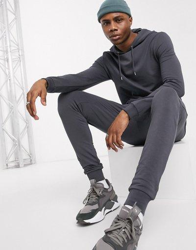 Novita Nero uomo Tuta sportiva attillata con felpa con cappuccio nero slavato - ASOS DESIGN