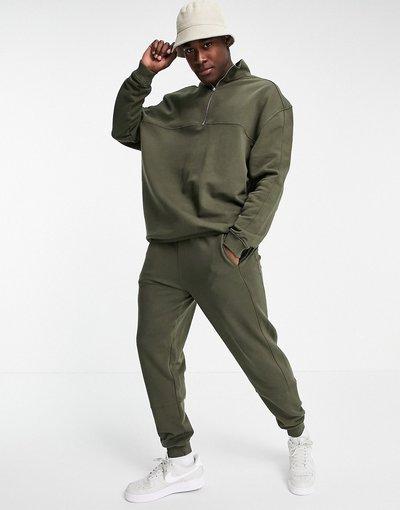 Novita Verde uomo Tuta sportiva con felpa con zip corta e joggers skinny - ASOS DESIGN - Verde