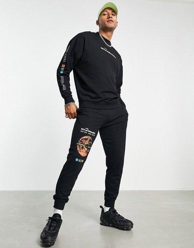 Novita Blu uomo Tuta sportiva leggera con stampa tecnologica multipla, colore nero - ASOS DESIGN - Blu