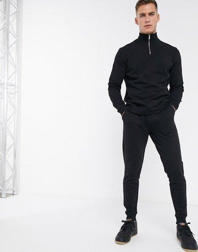 Novita Nero uomo Tuta sportiva nera composta da top con zip corta - ASOS DESIGN - Nero