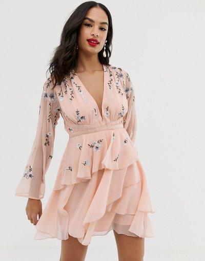 Eleganti con scollo Rosa donna Vestitino a balze con ricami e dettaglio in vita - ASOS DESIGN - Rosa