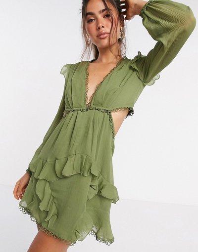 Verde donna Vestitino a maniche lunghe con finiture a cerchi - ASOS DESIGN - Verde