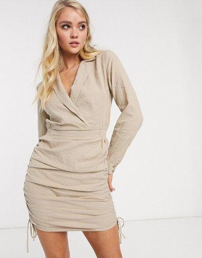 Beige donna Vestito camicia corto color pietra - ASOS DESIGN - Beige