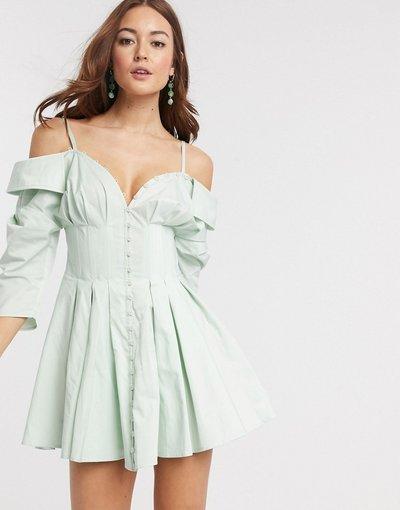 Eleganti pantaloni Blu donna Vestito camicia corto stile corsetto con spalle scoperte e bottoni - ASOS DESIGN - Blu