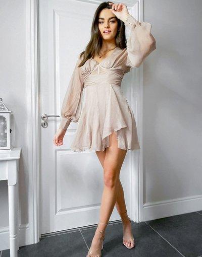 Eleganti con scollo Rosa donna Vestito corto a corsetto morbido con corpino drappeggiato - ASOS DESIGN - Rosa