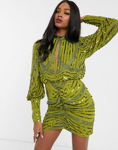 Eleganti gonna Verde donna Vestito corto a maniche lunghe con apertura a goccia e gonna a portafoglio - ASOS DESIGN - Verde