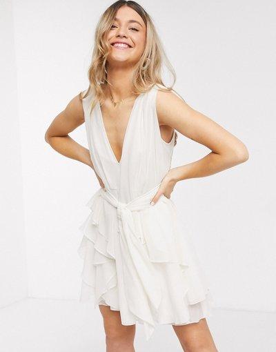 Crema donna Vestito corto allacciato in vita a strati in morbido tessuto color crema - ASOS DESIGN