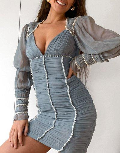 Blu donna Vestito corto arricciato blu con perle - ASOS DESIGN