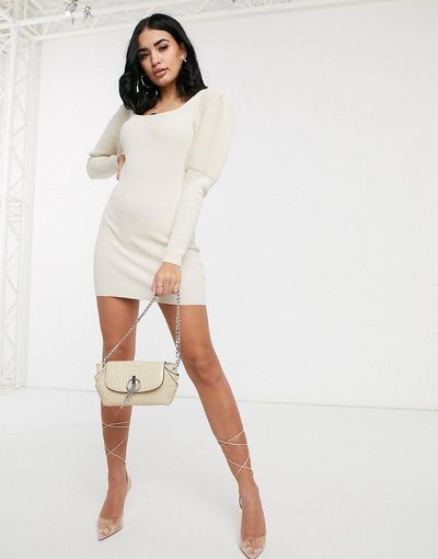 Pietra donna Vestito corto in maglia a coste con maniche ampie e scollo squadrato - ASOS DESIGN - Pietra