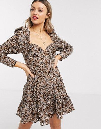 Eleganti pantaloni Multicolore donna Vestito corto in pizzo leopardato con scollo a cuore - ASOS DESIGN - Multicolore