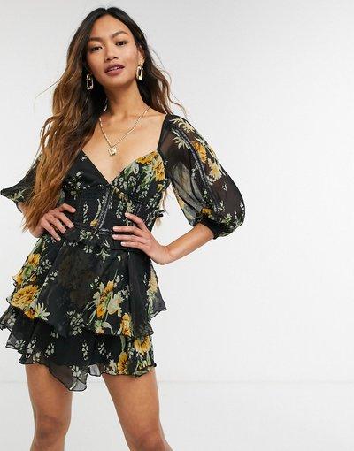 Eleganti gonna Multicolore donna Vestito corto in plumetis con stampa a fiori e dettagli in ecopelle PU, colore tortora - ASOS DESIGN - Multicolore