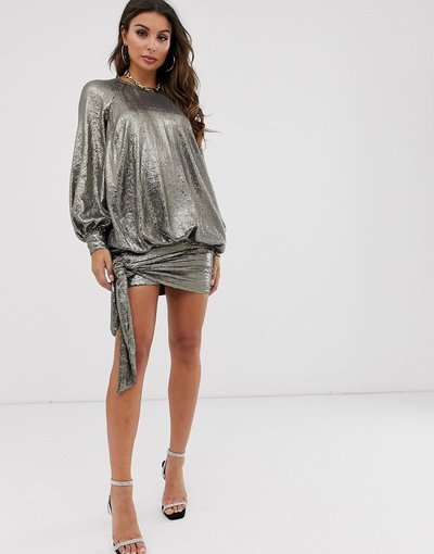Marrone donna Vestito corto oversize in paillettes sblusato - ASOS DESIGN - Marrone