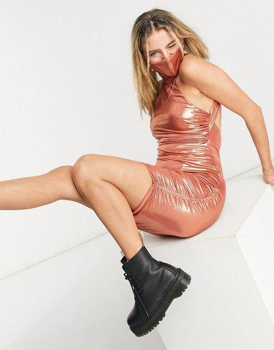 Marrone donna Vestito corto stile disco accollato con fascette sul retro e mascherina color ruggine - ASOS DESIGN - Marrone