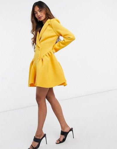 Giallo donna Vestito corto stile smocking con arricciature laterali color senape - ASOS DESIGN - Giallo