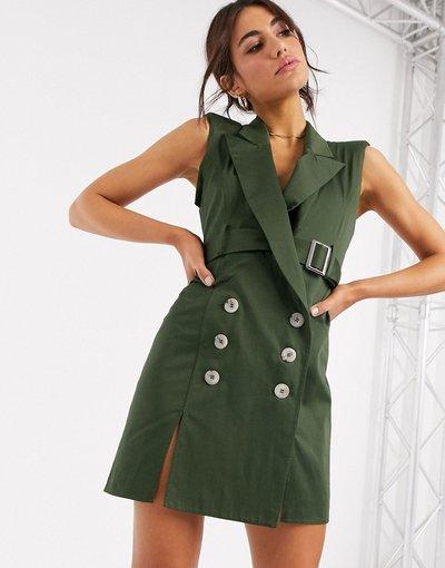 Eleganti pantaloni Verde donna Vestito corto stile smoking senza maniche con cintura sul retro e cuciture a vista - ASOS DESIGN - Verde
