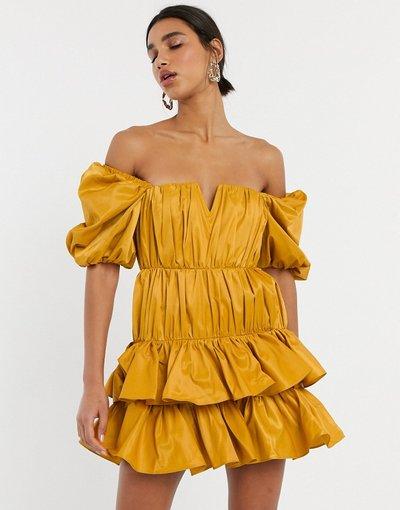 Giallo donna Vestito corto strutturato a balze con spalle scoperte e arricciatura - ASOS DESIGN - Giallo