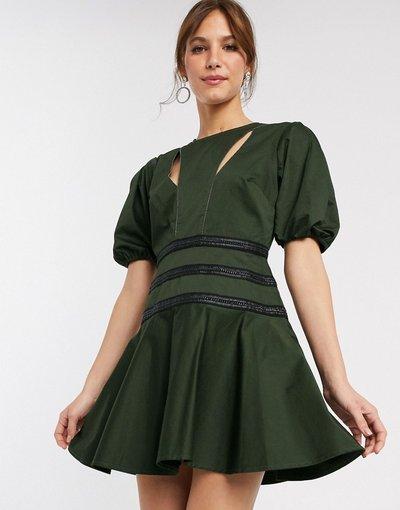 Verde donna Vestito corto strutturato con dettagli a catena e maniche a sbuffo - ASOS DESIGN - Verde