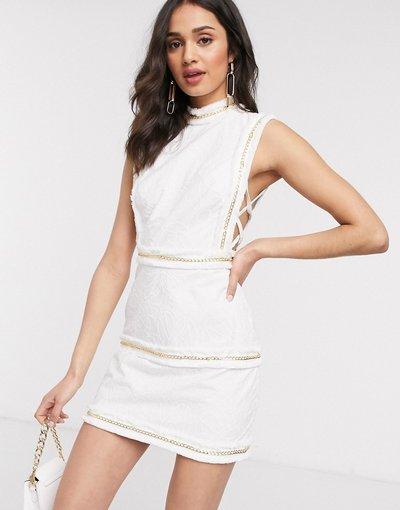Crema donna Vestito crema corto ricamato con frange e catenine - ASOS DESIGN