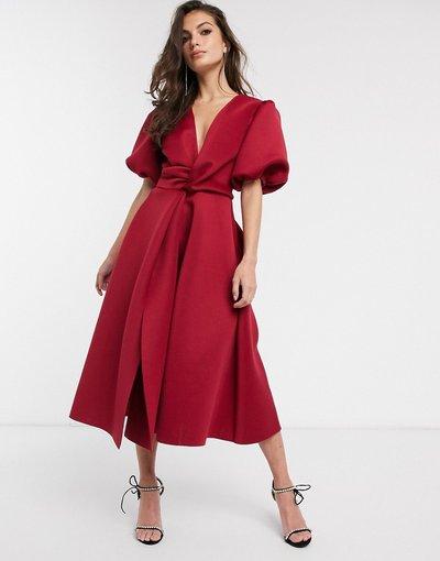 Eleganti longuette Rosso donna Vestito da cerimonia midi con dettaglio ritorto e maniche a sbuffo rosso vivo - ASOS DESIGN