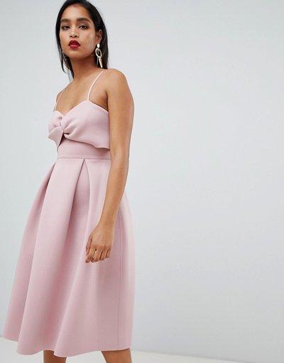 Eleganti gonna Rosa donna Vestito da cerimonia midi con top corto e nodo - ASOS DESIGN - Rosa