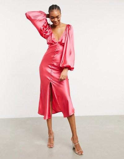 Eleganti longuette Rosa donna Vestito da giorno longuette in raso con bottoni allacciatura sulla schiena e dettagli con arricciatura rosa vivo - ASOS DESIGN