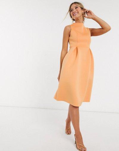 Eleganti pantaloni Arancione donna Vestito da prom midi accollato senza maniche con allacciatura sul retro - ASOS DESIGN - Arancione